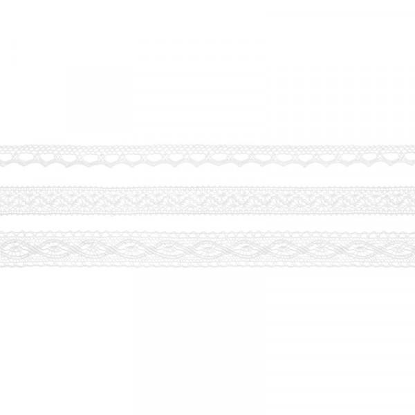Dekoband Spitze 1,5 m (3 Stück) - weiß