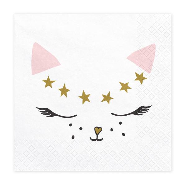 Katzen Party Servietten (20 Stück) - rosa, weiß & gold