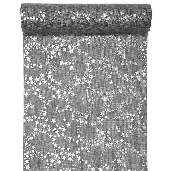 Tischläufer Sterne 28 cm x 3 m - grau & silber