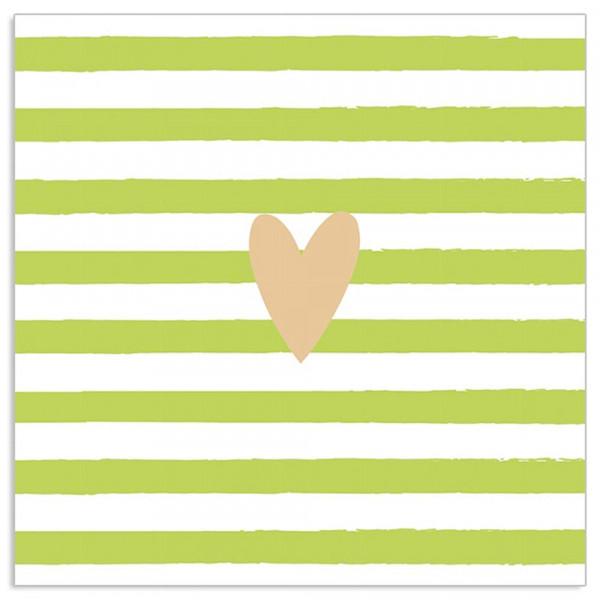 Servietten gestreift mit goldenem Herz (20 Stück) - hellgrün