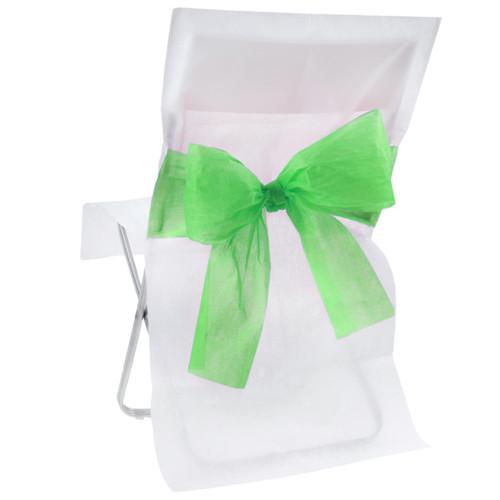 Stuhlhussen mit Schleife, Vlies (10 Stück) weiß-apfelgrün