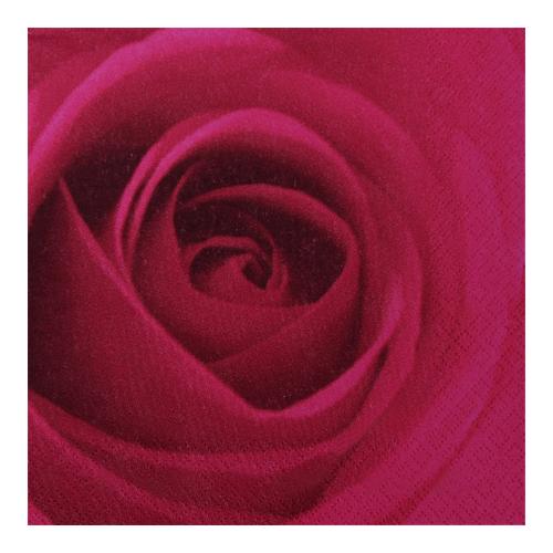 Servietten 'Rose' (20 Stück) - burgund