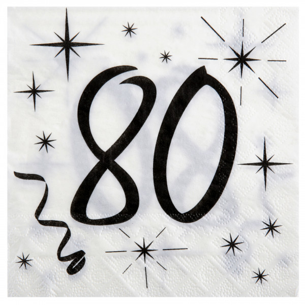 Servietten 80. Geburtstag - weiß & schwarz