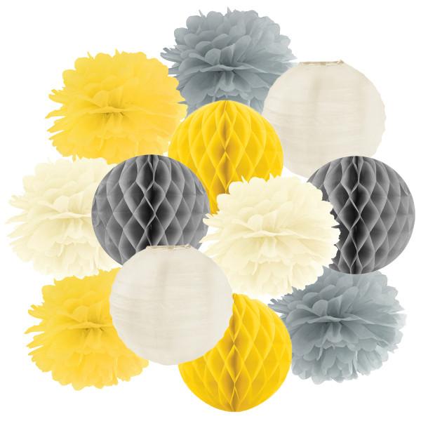 Hängedekoration 12 teilig Mix gelb, grau & creme