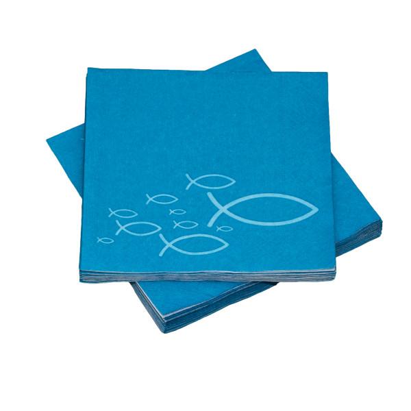 Servietten Ichthys Fische - blau (20 Stück)