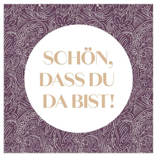 Servietten 'Schön, dass du da bist!' (20 Stück) - lila & gold