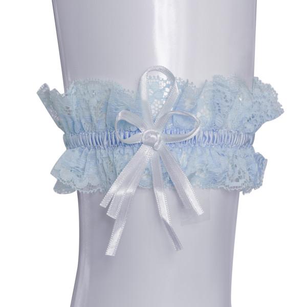Strumpfband mit Rosenblüte - hellblau