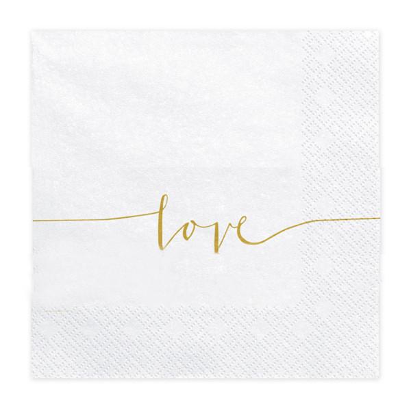 Servietten Love (20 Stück) weiß & gold