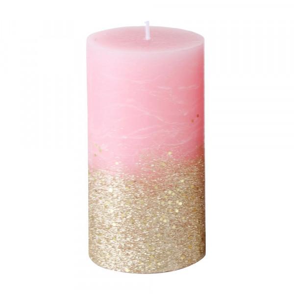 Stumpenkerze 'Mariza' 13 cm - rosa & gold