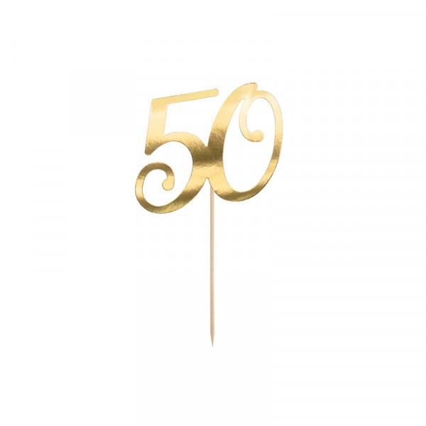 Tortenstecker '50' 50. Geburtstag - gold