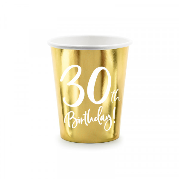 Becher '30th Birthday!' (6 Stück) - gold