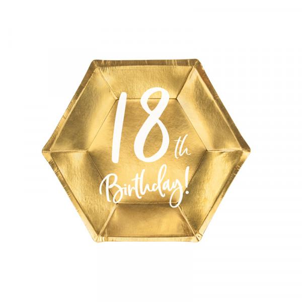 Teller '18th Birthday!' (6 Stück) - gold