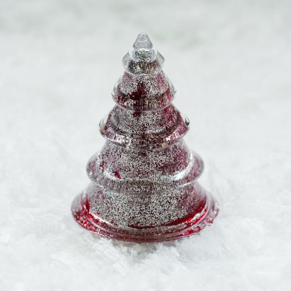 Glasbaum 'Mica' mit Silberglitter klein - rot