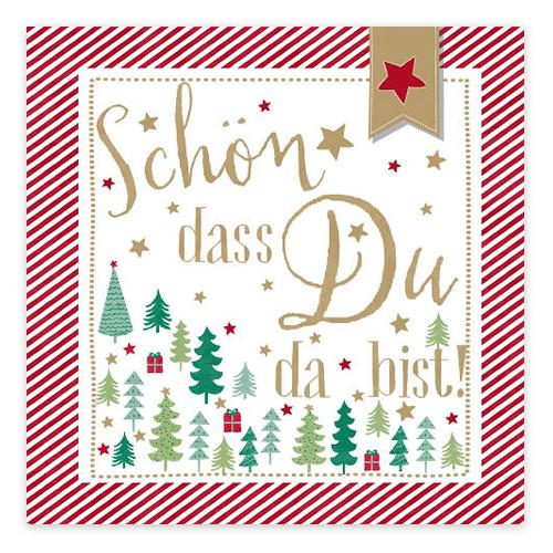 Servietten 'Weihnachtsbaum - Schön, dass du da bist!' - rot & gold