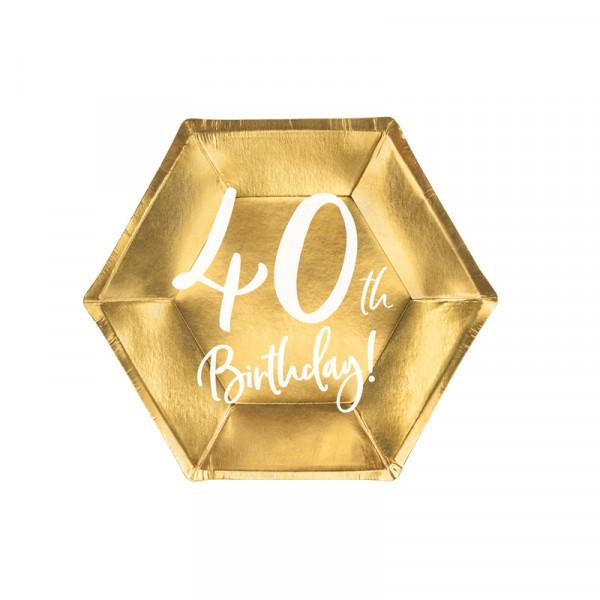 Teller '40th Birthday!' (6 Stück) - gold