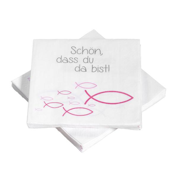 Servietten Ichthys Fische 'Schön, dass du da bist' - pink (20 Stück)