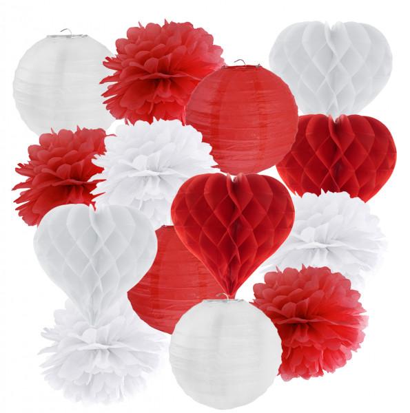 Hängedekoration Herz 14 teilig Mix Rot & Weiß