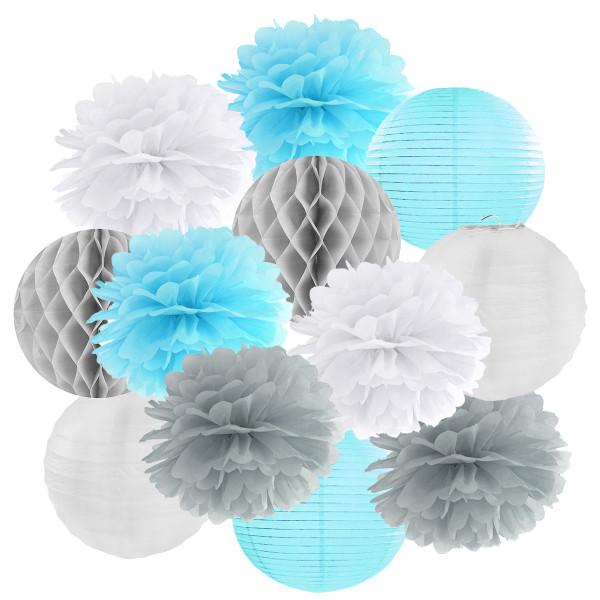 Hängedekoration 12 teilig Mix hellblau, grau & weiß