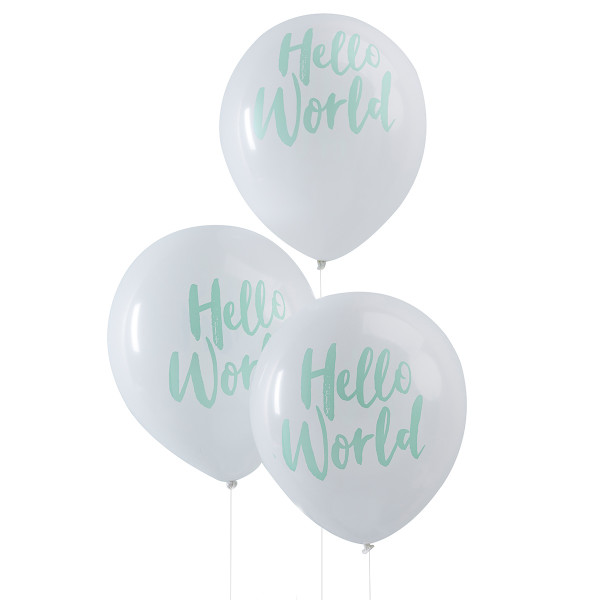 Hello World Luftballons (10 Stück) - weiß & mint