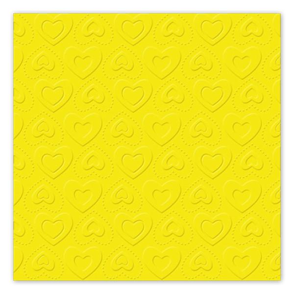 Servietten Herzen geprägt (16 Stück) - gelb