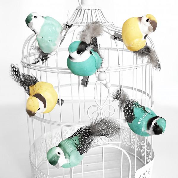 Dekovögel mit Federn & Clip (6 Stück) mint & gelb