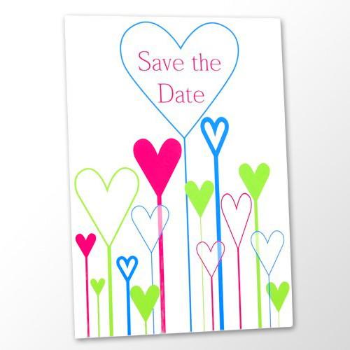 Save the Date Karte Hochzeit - Retro Herzen