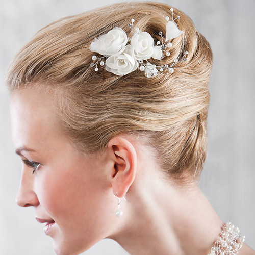 Blütengesteck 'Fiorina' mit Perlen & Strass - creme