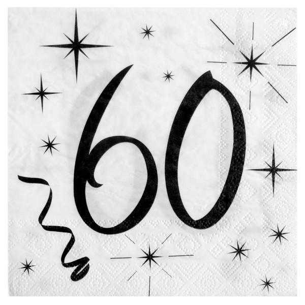 Servietten 60. Geburtstag - weiß & schwarz