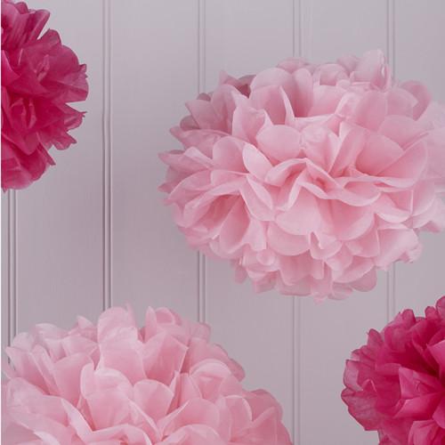 Pom Poms (5 Stück) - pink Mix