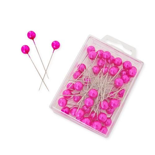 Perlkopf Dekonadeln Pink 10 mm 50 Stück