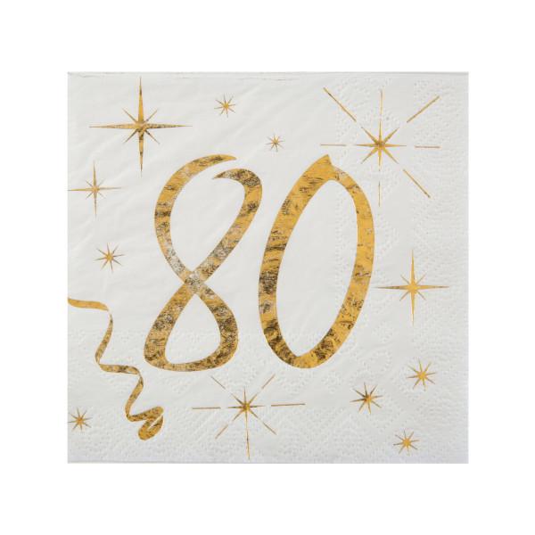 Cocktail Servietten 80. Geburtstag - weiß & gold