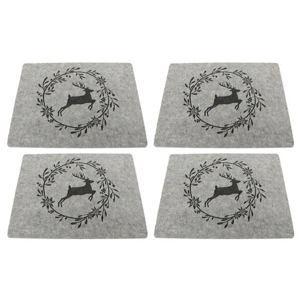 Tischsets / Platzsets 'Hirsch mit Kranz', Filz (4 Stück) 45 cm x 35 cm - hellgrau