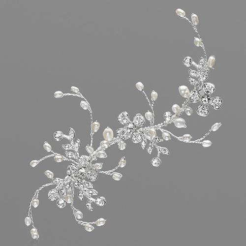 Haardraht 'Fenella' mit Strassblüten & Perlen