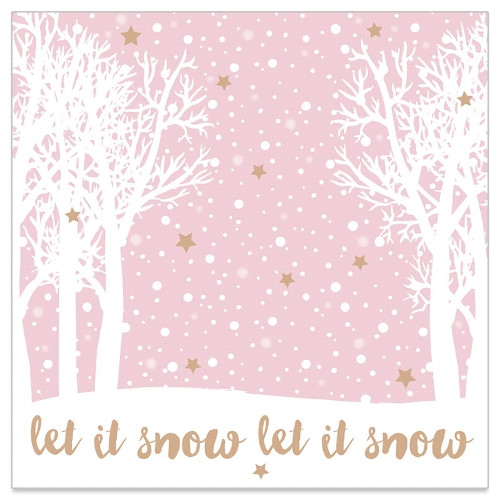 Servietten 'Let it snow' (20 Stück) - rosa