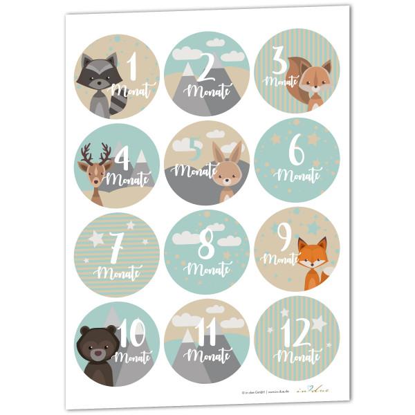 12 Aufkleber / Sticker Meilenstein 'Waldtiere'