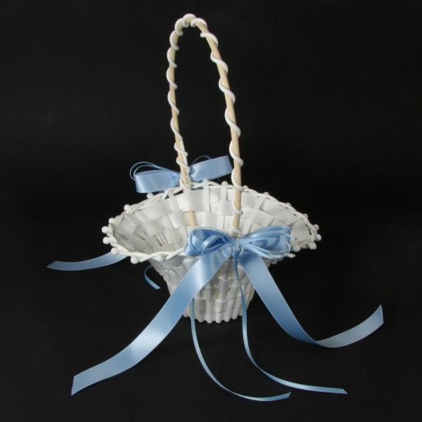 Streukörbchen mit Schleife - weiß & hellblau