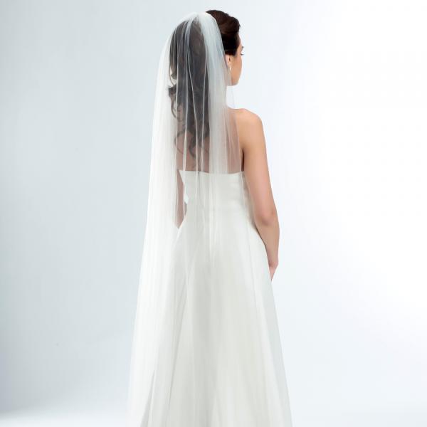 Brautschleier 'Soft' mit Kurbelkante Länge 220 cm - creme