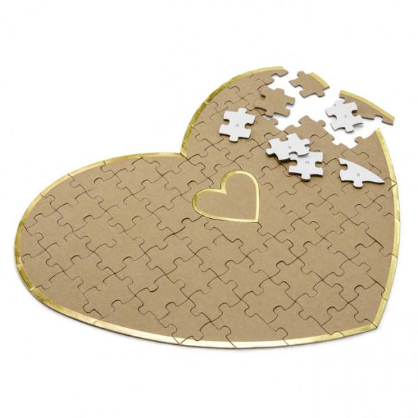 Herz Puzzle, Alternative zum Gästebuch - Kraft & Gold