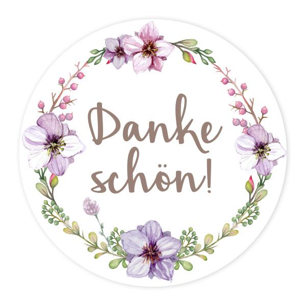 24 Aufkleber 'Vintage Flower - Dankeschön!'