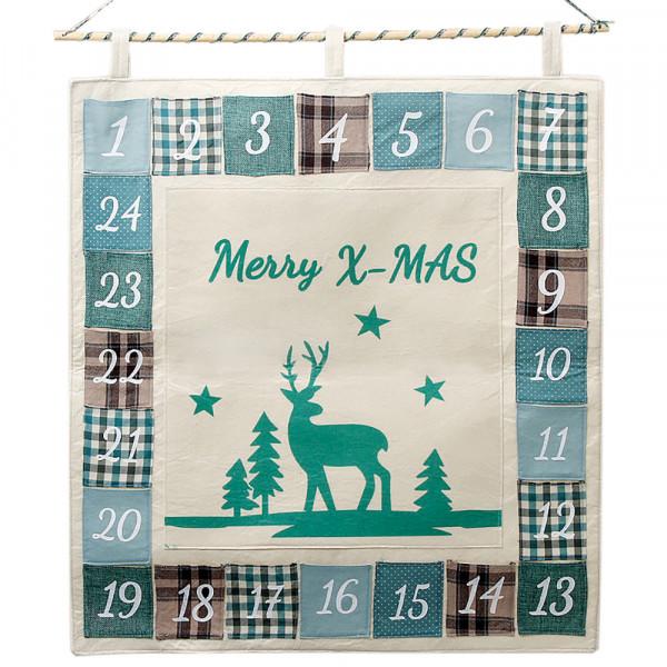 Adventskalender zum Befüllen 'Merry X-Mas' 70x60cm - türkis