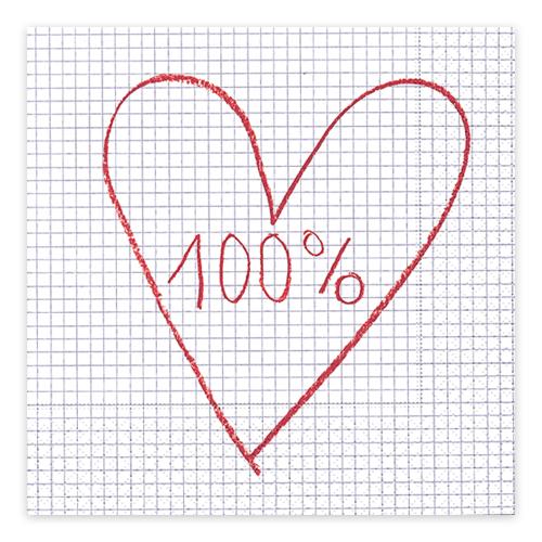 Servietten 100% Love (20 Stück)