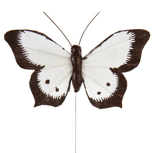 Schmetterlinge mit Draht (6 Stück) - weiß