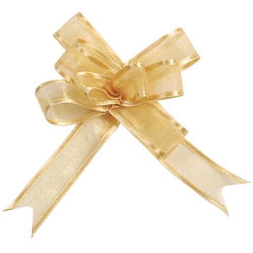 Organzaschleife / Automatikschleife 'Mini' (5 Stück) - gold
