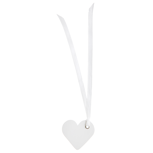 Tischkärtchen 'Herz' mit Satinband (12 Stück) - weiß