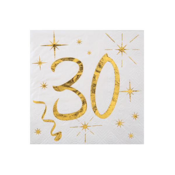 Cocktail Servietten 30. Geburtstag - weiß & gold