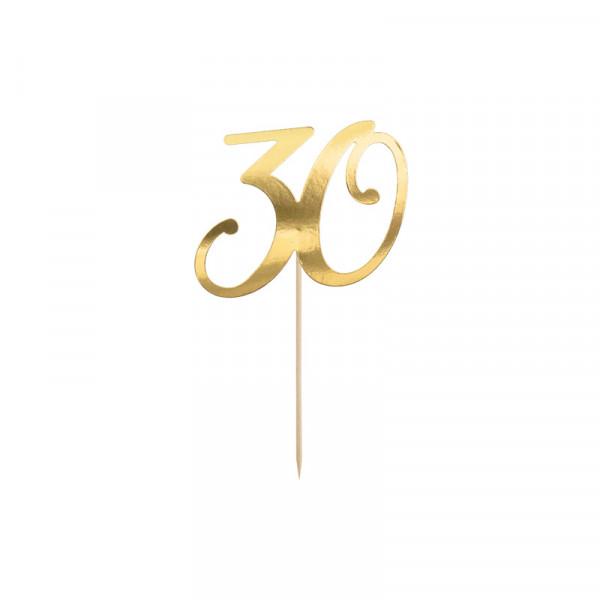 Tortenstecker '30' 30. Geburtstag - gold