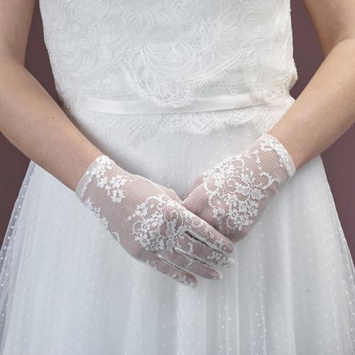 Brauthandschuhe 'Cate' aus Spitze, kurz
