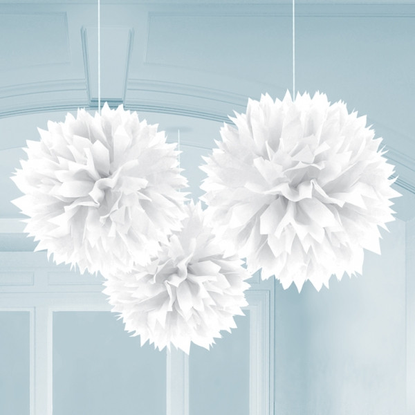 Pompoms 40 cm (3 Stück) - weiß