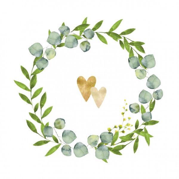 Servietten Zwei Herzen (20 Stück) - grün & gold