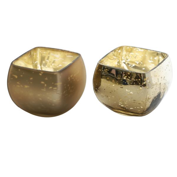 Windlicht Glas (2 Stück) - bronze